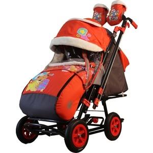 Санки-коляска GALAXY SNOW GALAXY City-2-1 Мишка со звездой на красном на больших надувных колёсах (7090)