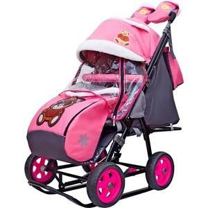 Санки-коляска GALAXY SNOW GALAXY City-2 Мишка в красном в очках на розовом на больших колёсах (7085) санки коляска snow galaxy city 1 мишка в красном в очках на розовом на больших колёсах ева сумка вар