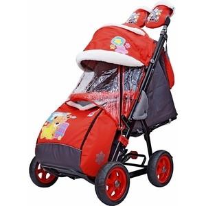 Санки-коляска GALAXY SNOW GALAXY City-2 Мишка со звездой на красном на больших колёсах (7080) санки коляска snow galaxy city 1 мишка в красном в очках на розовом на больших колёсах ева сумка вар
