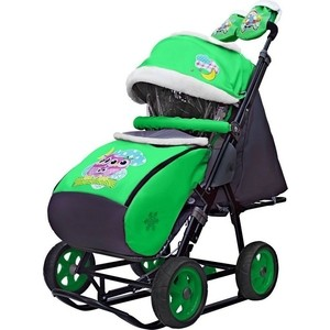 Санки-коляска GALAXY SNOW City-1 Совушки на зелёном больших колёсах (7063)