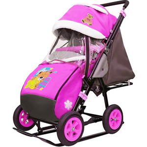 Санки-коляска GALAXY SNOW City-1-1 Мишка со звездой на розовом больших надувных колёсах (7075)