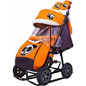 Санки-коляска GALAXY SNOW GALAXY City-1-1 Панда на оранжевом на больших надувных колёсах (7070)