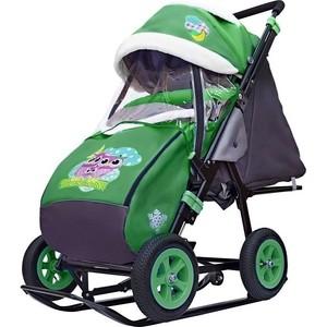 Санки-коляска GALAXY SNOW GALAXY City-1-1 Совушки на зелёном на больших надувных колёсах (7076) снегомобиль snow galaxy black auto розовые рейки на больших мягких колесах