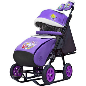 Санки-коляска GALAXY SNOW GALAXY City-1-1 Серый Зайка на фиолетовом на больших надувных колёсах (7069) санки коляска snow galaxy city 2 серый зайка на зелёном на больших колёсах ева сумка варежки