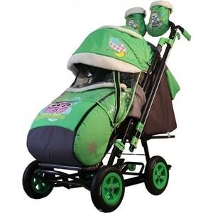 Санки-коляска GALAXY SNOW GALAXY City-2-1 Совушки на зелёном на больших надувных колёсах (7097) санки коляска snow galaxy city 1 мишка в красном в очках на розовом на больших колёсах ева сумка вар