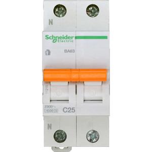 Выключатель автоматический модульный Schneider Electric 2п (1P+N) C 25А 4.5кА BA63 Домовой (11215) выключатель автоматический модульный schneider electric 2п 1p n c 16а 4 5ка ba63 домовой sche 11213