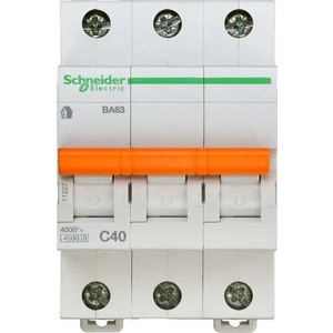 Выключатель автоматический модульный Schneider Electric 3п C 40А 4.5кА ВА63 Домовой (11227)