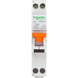 Выключатель автоматический дифференциального тока Schneider Electric 2п (1P+N) C 25А 30мА тип AC 4.5кА К АД63 Домовой SchE 12524