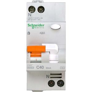 Выключатель автоматический дифференциального тока Schneider Electric 2п (1P+N) C 40А 30мА тип AC 4.5кА К АД63 2мод. Домовой SchE 11475