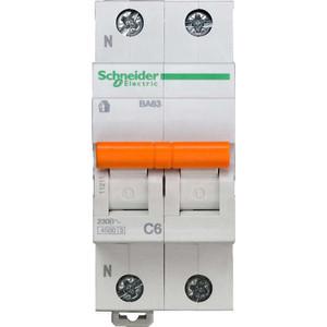 Выключатель автоматический модульный Schneider Electric 2п (1P+N) C 6А 4.5кА BA63 Домовой SchE 11211