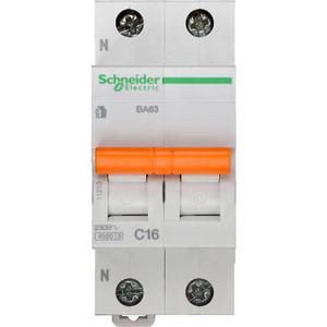 Выключатель автоматический модульный Schneider Electric 2п (1P+N) C 16А 4.5кА BA63 Домовой SchE 11213 сименс siemens 5sj61167cr стандартный одноступенчатый 16а мини выключатель 1p бытовой выключатель питания