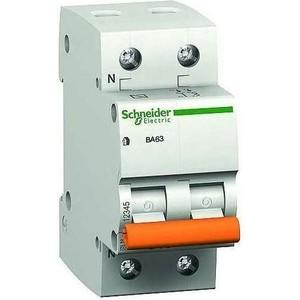 Выключатель автоматический модульный Schneider Electric 2п (1P+N) C 20А 4.5кА BA63 Домовой SchE 11214 выключатель автоматический модульный schneider electric 2п 1p n c 16а 4 5ка ba63 домовой sche 11213