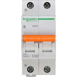 Выключатель автоматический модульный Schneider Electric 2п (1P+N) C 32А 4.5кА BA63 Домовой SchE 11216 выключатель автоматический модульный schneider electric 2п 1p n c 16а 4 5ка ba63 домовой sche 11213