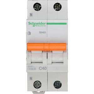Выключатель автоматический модульный Schneider Electric 2п (1P+N) C 40А 4.5кА BA63 Домовой SchE 11217
