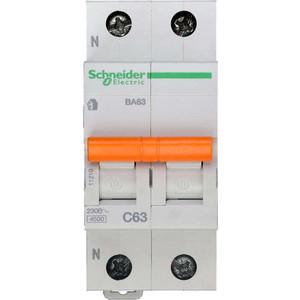 Выключатель автоматический модульный Schneider Electric 2п (1P+N) C 63А 4.5кА BA63 Домовой SchE 11219
