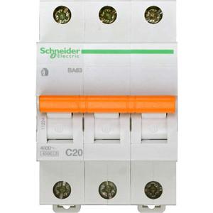 Выключатель автоматический модульный Schneider Electric 3п C 20А 4.5кА BA63 Домовой SchE 11224