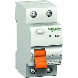 Выключатель дифференциального тока (УЗО) Schneider Electric 2п 16А 10мА тип AC ВД63 Домовой SchE 11454