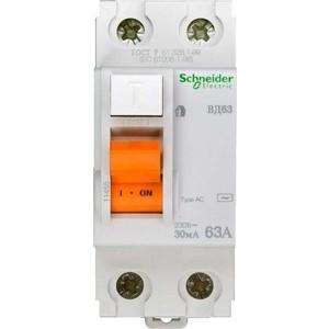 Выключатель дифференциального тока (УЗО) Schneider Electric 2п 63А 30мА тип AC ВД63 Домовой SchE 11455