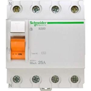 Выключатель дифференциального тока (УЗО) Schneider Electric 4п 25А 30мА тип AC ВД63 Домовой SchE 11460 узо schneider electric dekraft 2p 25а 30ма тип ac 6ка 14054dek