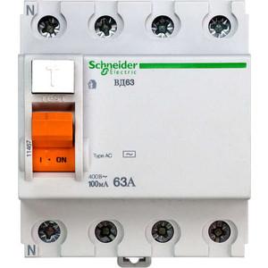 Выключатель дифференциального тока (УЗО) Schneider Electric 4п 63А 100мА тип AC ВД63 Домовой SchE 11467 авдт 63 2p c50 100ма tdm sq0202 0014 автоматический выключатель дифференциального тока