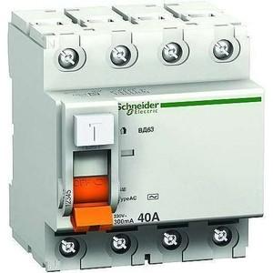 Выключатель дифференциального тока (УЗО) Schneider Electric 4п 63А 300мА тип AC ВД63 Домовой SchE 11468