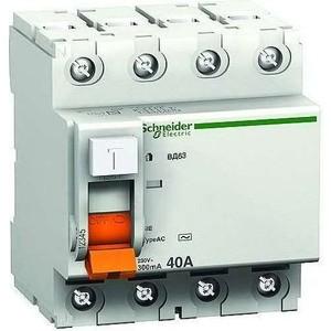 Выключатель дифференциального тока (УЗО) Schneider Electric 4п 63А 30мА тип AC ВД63 Домовой SchE 11466