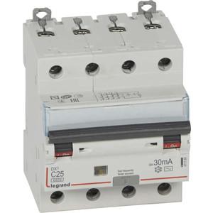 Выключатель автоматический дифференциального тока Legrand 4п C 25А 30мА тип AC 6кА DX3 4мод. Leg 411188 автоматический выключатель legrand dx3 e 6000 6ка тип c 3п 25а 407293