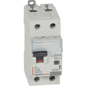 Выключатель автоматический дифференциального тока Legrand 2п (1P+N) C 32А 30мА тип AC 6кА DX3 2мод. (411005)