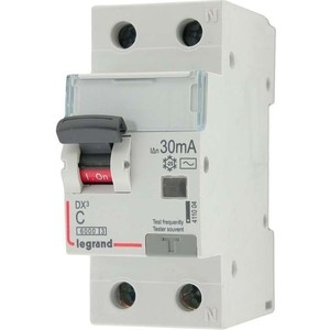 Выключатель автоматический дифференциального тока Legrand 2п (1P+N) C 25А 30мА тип AC 6кА DX3 2мод. (411004)