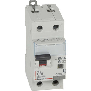 Выключатель автоматический дифференциального тока Legrand 2п (1P+N) C 20А 30мА тип AC 6кА DX3 2мод. (411003) выключатель автоматический дифференциального тока legrand 2п c 16а 30ма тип ac 6ка dx3 4мод leg 411158
