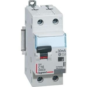 Выключатель автоматический дифференциального тока Legrand 2п (1P+N) C 16А 30мА тип AC 6кА DX3 2мод. (411002) сименс siemens 5sj61167cr стандартный одноступенчатый 16а мини выключатель 1p бытовой выключатель питания
