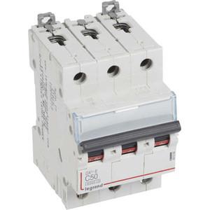 Выключатель автоматический модульный Legrand 3п C 50А 6кА DX3-E (407296) автоматический выключатель legrand dx3 e 6000 6ка тип c 3п 25а 407293