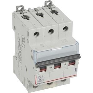 Выключатель автоматический модульный Legrand 3п C 20А 6кА DX3-E (407292) автоматический выключатель legrand dx3 e 6000 6ка тип c 3п 25а 407293