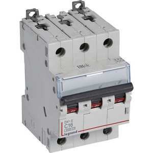 Выключатель автоматический модульный Legrand 3п C 16А 6кА DX3-E (407291) автоматический выключатель legrand dx3 e 6000 6ка тип c 3п 25а 407293