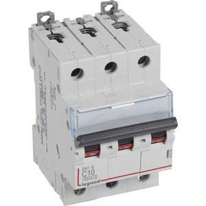 Выключатель автоматический модульный Legrand 3п C 10А 6кА DX3-E Leg 407289 автоматический выключатель legrand dx3 e 6000 6ка тип c 3п 25а 407293
