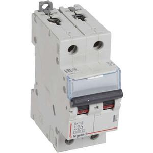 Выключатель автоматический модульный Legrand 2п C 25А 6кА DX3-E Leg 407279 автоматический выключатель legrand dx3 e 6000 6ка тип c 3п 25а 407293