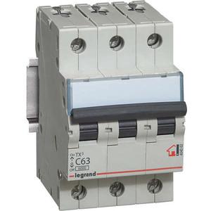 Выключатель автоматический модульный Legrand 3п C 63А 6кА TX3 (404062) выключатель автоматический модульный legrand 2п c 16а 6ка tx3 404042