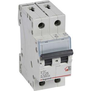 Выключатель автоматический модульный Legrand 2п C 25А 6кА TX3 (404044) выключатель автоматический модульный legrand 2п c 16а 6ка tx3 404042