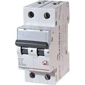 Выключатель автоматический модульный Legrand 2п C 6А 6кА TX3 (404039) выключатель автоматический модульный legrand 2п c 16а 6ка tx3 404042