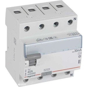 Выключатель дифференциального тока (УЗО) Legrand 4п 40А 30мА тип AC TX3 (403009)