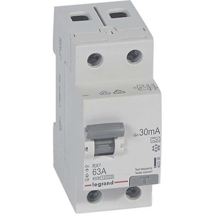 Выключатель дифференциального тока (УЗО) Legrand 2п 63А 30мА тип A RX3 Leg 402038
