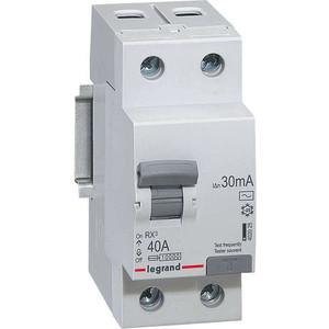 Выключатель дифференциального тока (УЗО) Legrand 2п 40А 30мА тип AC RX3 (402025)