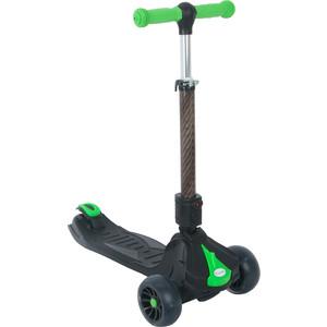 Самокат 3 х колесный Capella M088 BLACK+GREEN, черный+зеленый самокат 3 х колесный babyhit scooterok черный