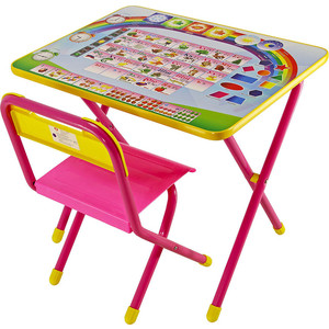 Набор мебели Дэми №1 (стол+стул) Алфавит, (роз)