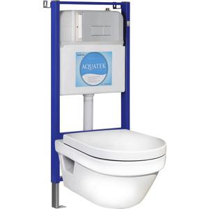 Комплект Gustavsberg Hygienic Flush WWS унитаз подвесной, инсталляция Акватек Slim Set, с сиденьем, клавиша хром (5G84HR01+10.705.51C.021.8)