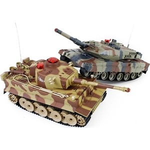 Радиоуправляемый танковый бой Huan Qi Tiger vs Abrams масштаб 1:24 27Mhz vs 40Mhz- HQ558N радиоуправляемая игрушка pilotage танковый бой micro ir fighting tanks tiger vs t34 85 a