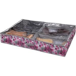 Короб для хранения Handy Home обуви Роза 4 секции, Д940 Ш600 В150, розово-серый короб для хранения обуви handy homeроза 4 секции 94 х 60 х 15 см