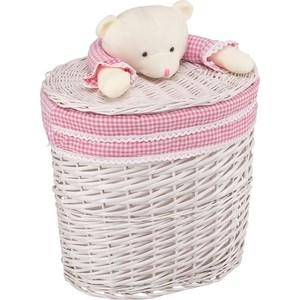 Корзина бельевая Natural House Медвежонок розовый, Д410 Ш300 В400, белый