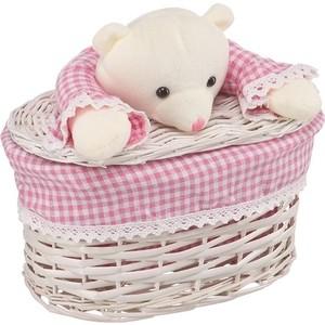 Корзина бельевая Natural House Медвежонок розовый, Д260 Ш150 В160, белый