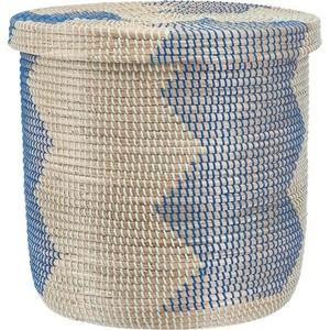 Корзина бельевая Natural House круглая Изумрудная волна, Д500 Ш500 В480, изумрудный, синий